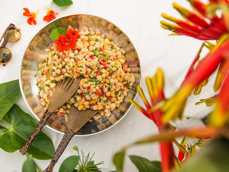 salada de grão de bico com atum — o chef e a chata