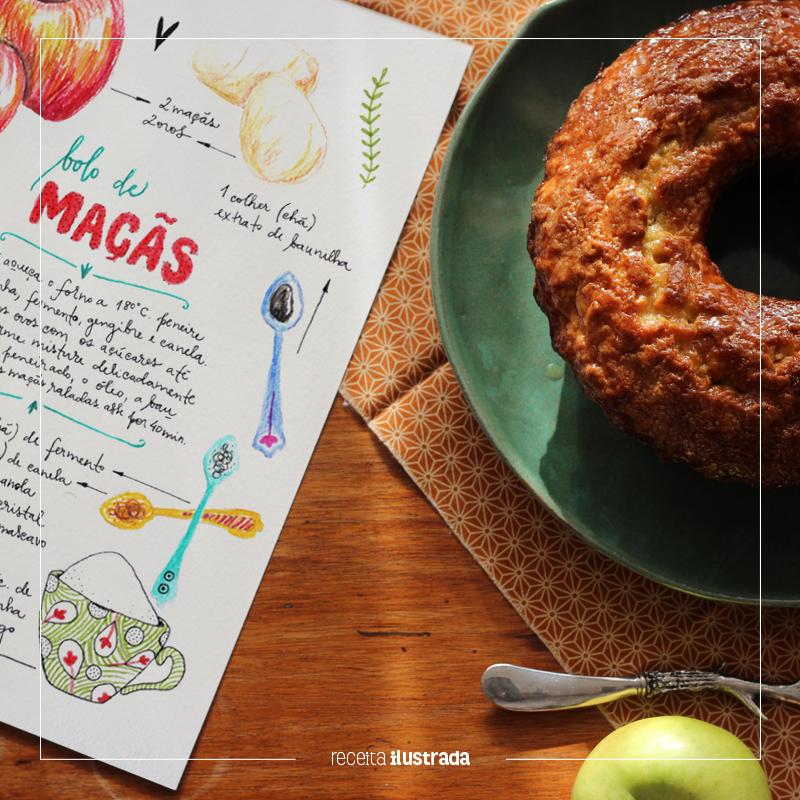 bolo de maçã com calda de maple syrup