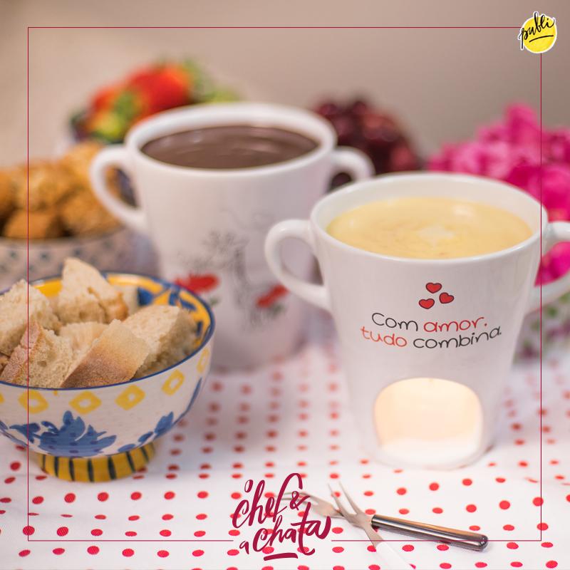 fondue de queijo e de chocolate